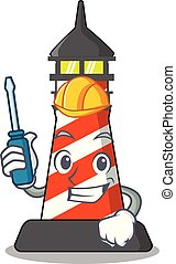 Automotive classic cartoon lighthouse of red