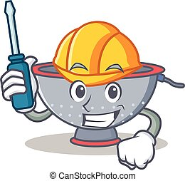 Automotive colander utensil character cartoon vector...