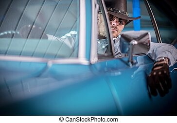 Caucasian Car Driver