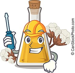 Automotive cottonseed oil at the cartoon table vector ...