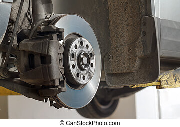 automotive disc brakes. - Disc brakes. assembly on a modern...