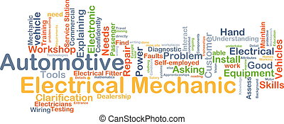 Automotive electrical mechanic background concept
