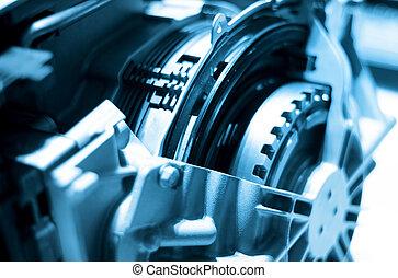 Close up shot of automotive engine components