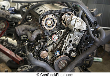 Close up view of automotive engine