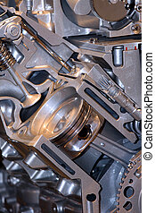 Automotive engine - Cut section of engine showing Piston and...