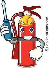 Automotive fire extinguisher mascot cartoon