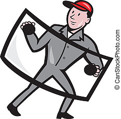 Automotive Glass Installer Front Isolated - Illustration of...