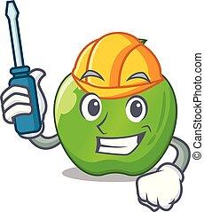 Automotive green smith apple isolated on cartoon