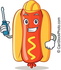 Automotive Hot Dog Cartoon Character