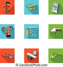 Automotive industry and other web icon in flat style.Automated production systems icons in set collection.