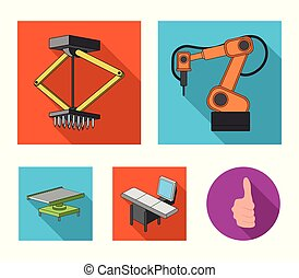 Automotive industry and other web icon in flat style.New technologies icons in set collection.