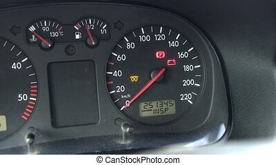 Automotive instrument panel on a diesel car on which the...
