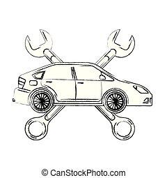 automotive iparág, keresztbe tett, ficam, autó, eszközök
