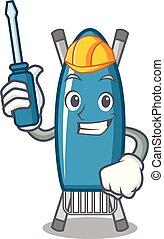 Automotive iron board mascot cartoon