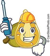 Automotive jackfruit mascot cartoon style vector...