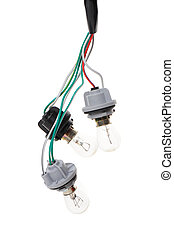 automotive light bulb connected to light socket
