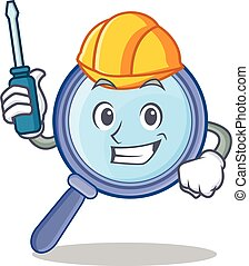 Automotive magnifying glass character cartoon