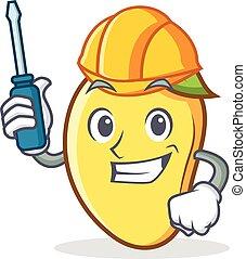 Automotive mango character cartoon mascot vector art
