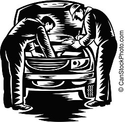 Automotive Mechanic Car Service and Repair Woodcut Black and White