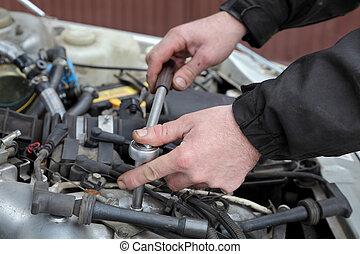 Automotive - Modern car gasoline engine servicing, workers...