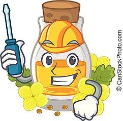 Automotive mustard oil in the cartoon shape