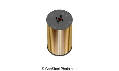 Automotive oil filter cartridge on white background