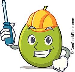 Automotive olive mascot cartoon style