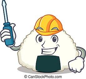 Automotive Onigiri mascot cartoon style