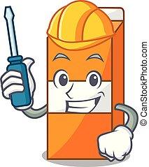 Automotive package juice mascot cartoon