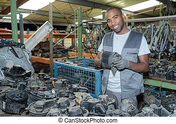 automotive parts in the garage