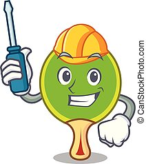 Automotive ping pong racket mascot cartoon