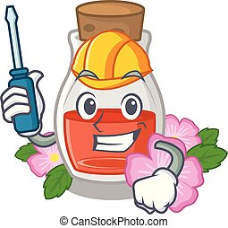 Automotive rosehip seed oil on a mascot