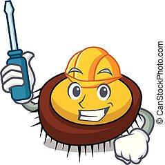 Automotive sea urchin mascot cartoon