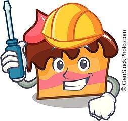 Automotive sponge cake mascot cartoon vector illustration
