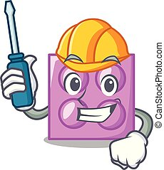 Automotive toy brick mascot cartoon