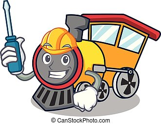 Automotive train mascot cartoon style