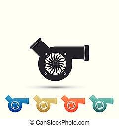 Automotive turbocharger icon isolated on white background....