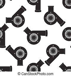 Automotive turbocharger icon pattern on white background....