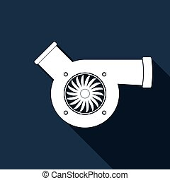 Automotive turbocharger icon with long shadow. Vector...