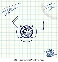 Automotive turbocharger line sketch icon isolated on white...