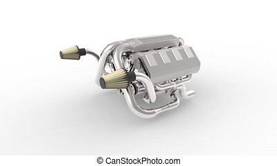 Automotive v8 engine with a turbocharger. Object on white isolated background. The camera flies around the engine.