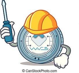 Automotive Waves coin mascot cartoon
