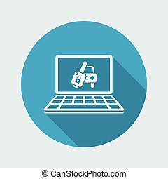 Automotive web button - Vector flat icon