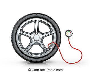 Automotive wheel with a pressure sensor on a white background.