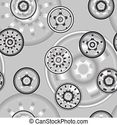 automotive wheel with alloy wheels. Seamless wallpaper.