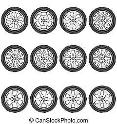 automotive wheel with alloy wheels, vector illustration