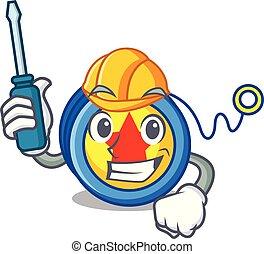 Automotive yoyo mascot cartoon style vector illustration