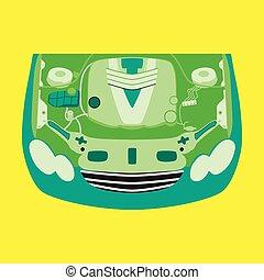 Motor, ausgeführt, auto, bild, -, meisten, teil,... Vektor ...