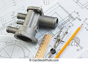automotor, partes, y, dibujo