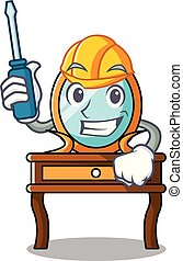 automotor, tocador, caricatura, mascota